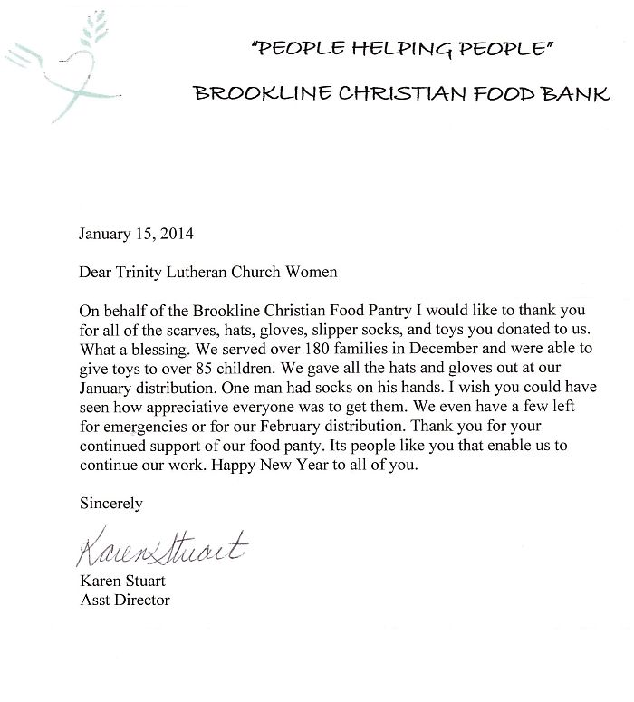here is the letter we received from the brookline christian food pantry acknowledging our donation