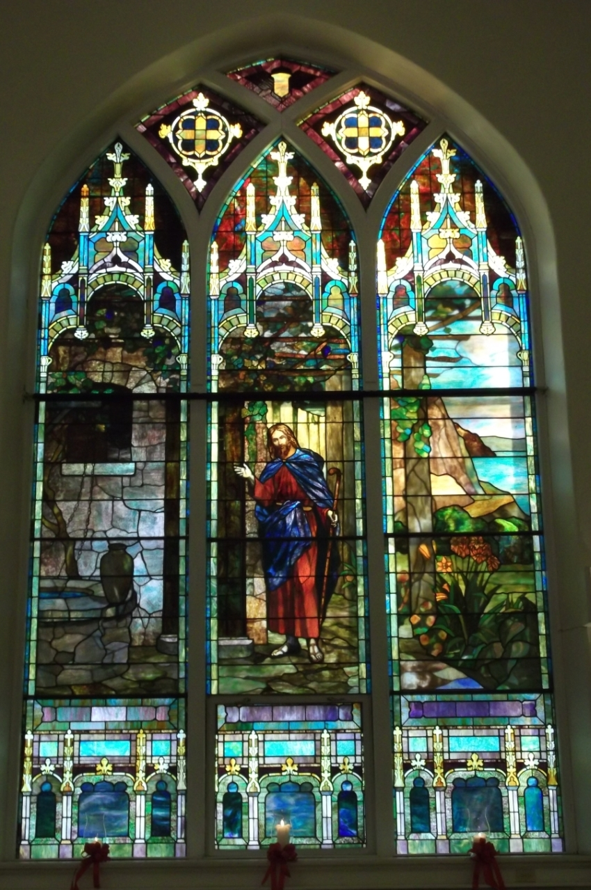 Trinity Evangelical Lutheran Church (Mt. Oliver) left side stained glass window