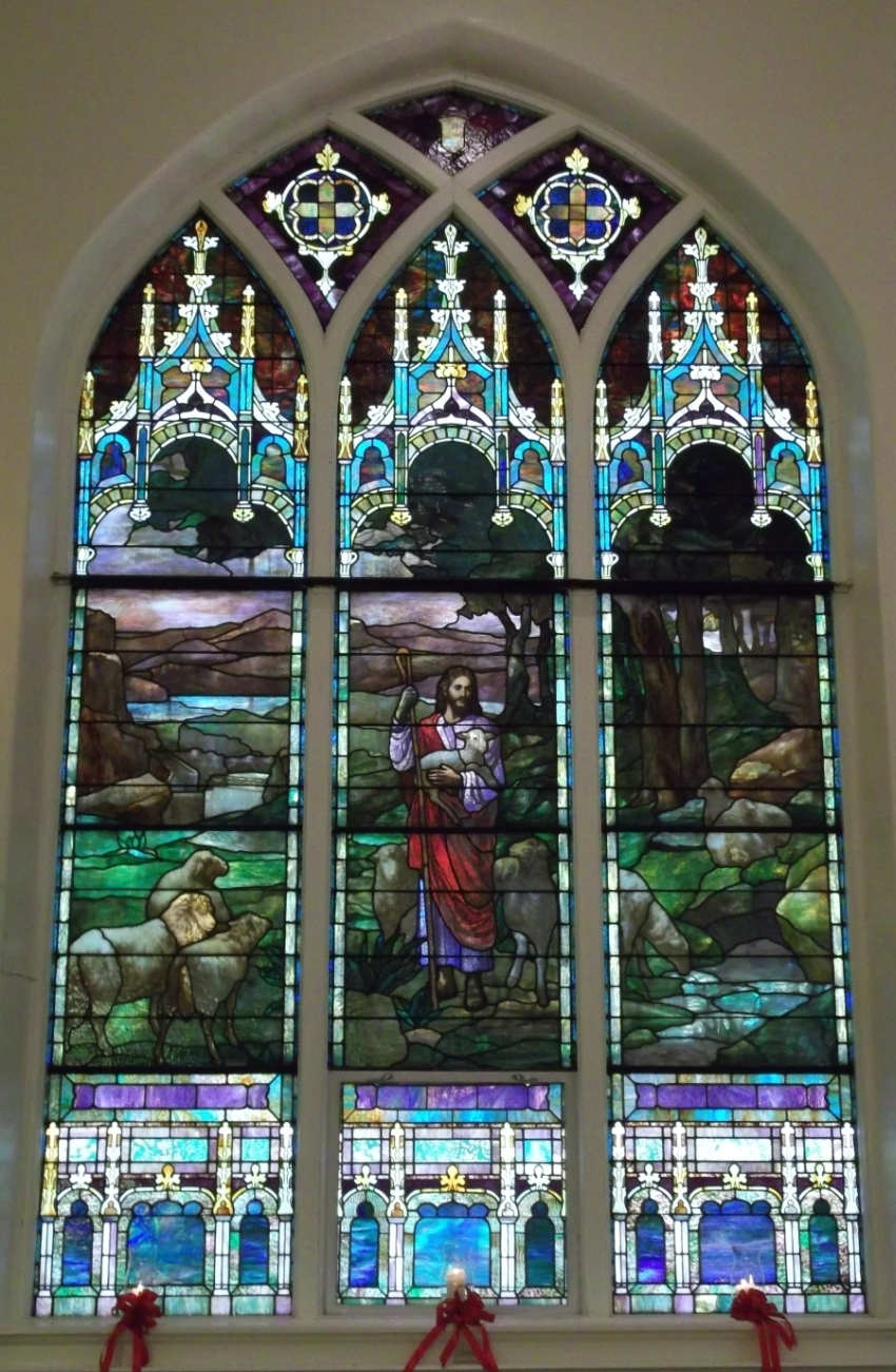 Trinity Evangelical Lutheran Church (Mt. Oliver) right side stained glass window